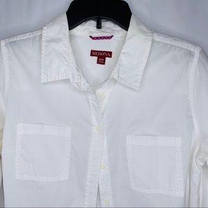 Merona White Button Down Shirt Sz M